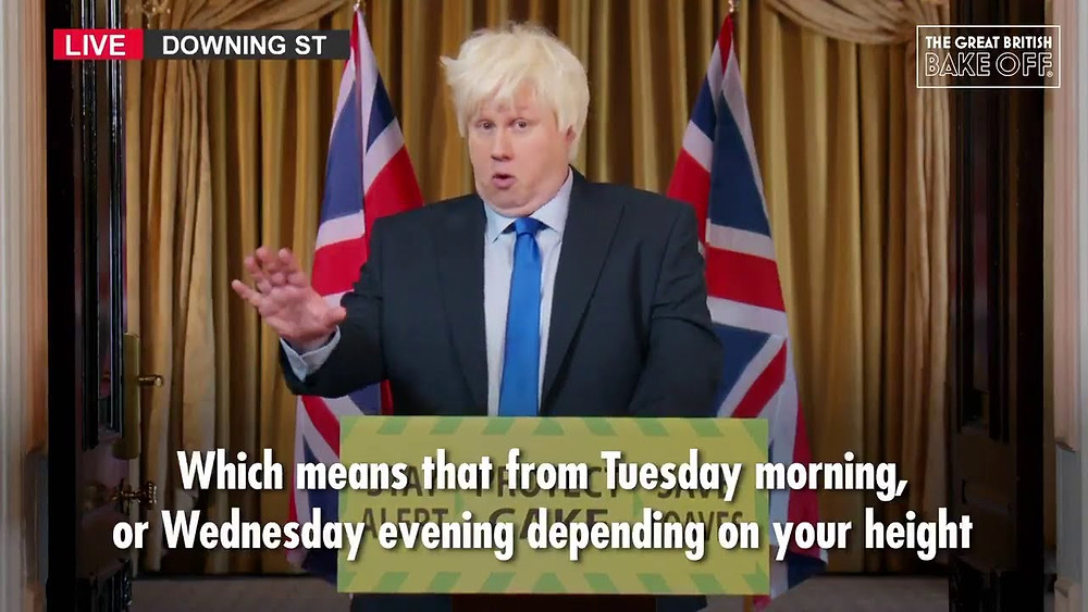 Comedian Matt Lucas parodies British Prime Minister Boris Johnson giving a press briefing for Channel 4's Great British Bakeoff