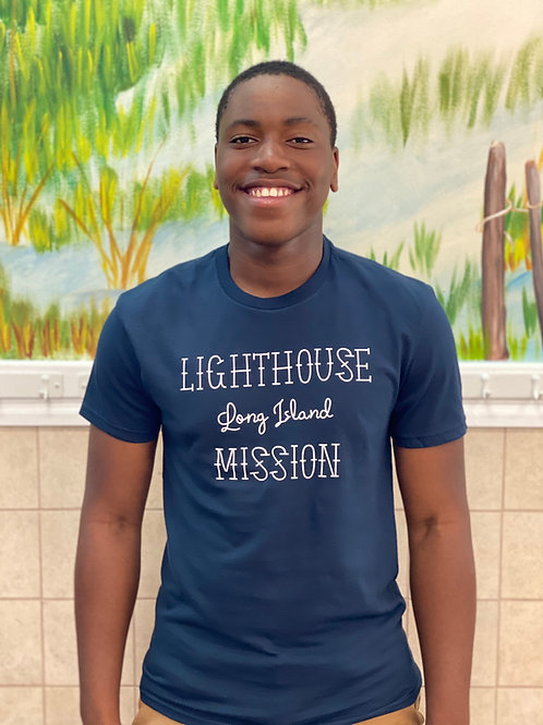 Lighthouse Mission Knotted Cross T-Shirt (Blue)