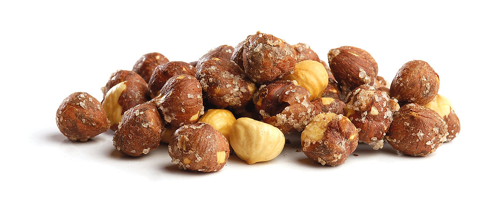 Roasted salted hazelnuts in shell