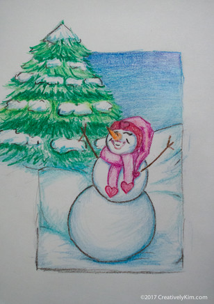 Art A Day for 365 - Day 6 - Snow Lady