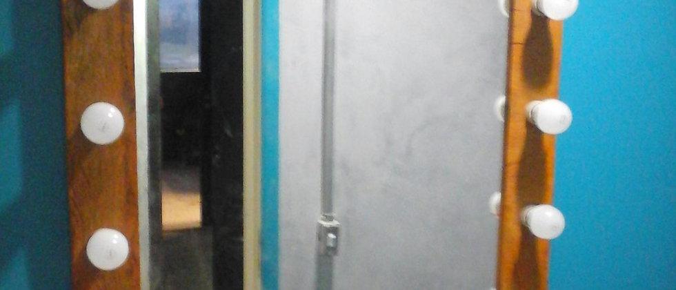 Espelho Camarim Madeira de Demolição 90 x 90cm.Cód. 000129