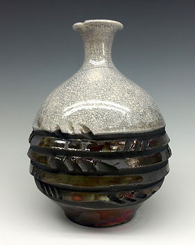 White Crackle and Raku Small Vase by Vicki Gardner