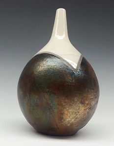 Small White Top and Raku Copper Curve Vase by Vicki Gardner