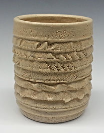 Textured Pottery Natural Clay Vase by Vicki Gardner