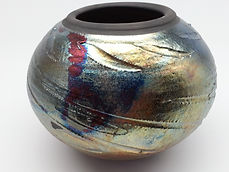 Raku metallic vase with purple flashes by Vicki Gardner