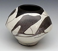 Crackle  raku vase pottery