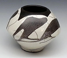 White Crackle and Black Raku Vase With Variations by Vicki Gardner