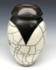 White Crackle and Black Raku Vase by Vicki Gardner
