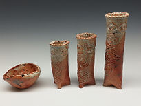 Pottery Tribal Artifact Vase Set in  Orange