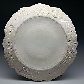 Pottery Platter  White Tribal Artifact