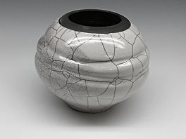 White Crackle and Raku Pottery by Vicki Gardner