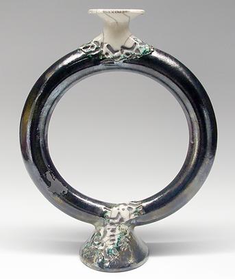 Pottery Circle Torus Vase 1 by Vicki Gardner
