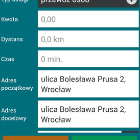 Okno generowania faktury z poziomu aplikacji kierowcy