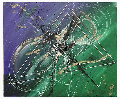 Acrylic Colours on Canvas Painting - Green triangle.JPG