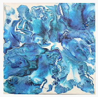 Fluid Art on Canvas Painting -  blue flu