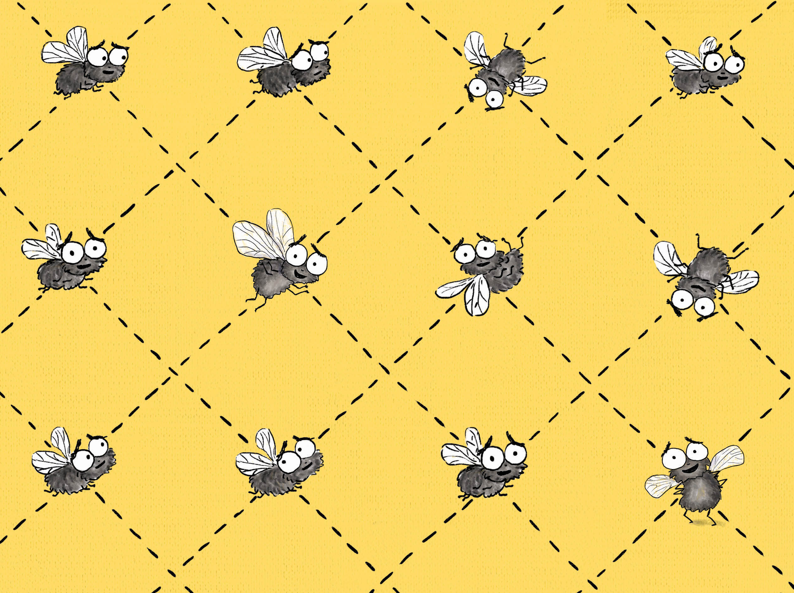 Fly endpaper pattern design