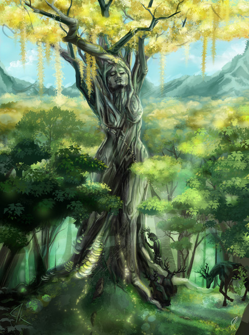 Concept Art // lords of nature weeping to a tree