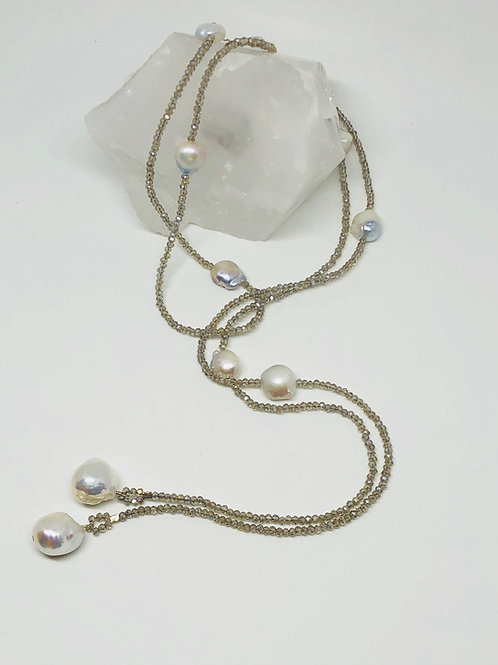 Baroque Pearl and Crystal Station Lariat Necklace