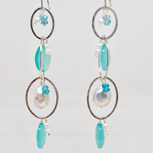Chalcedony and Sterling Silver Oval Dangles
