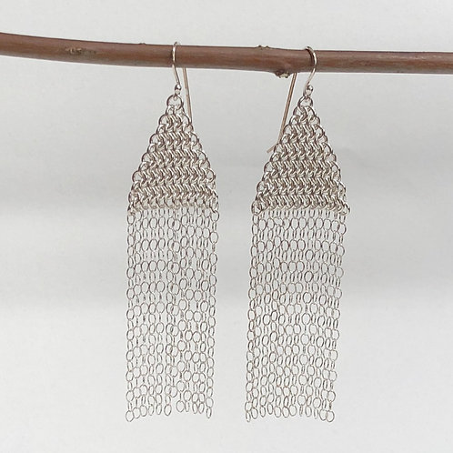 Chainmaille and Fringe Dangle Earrings
