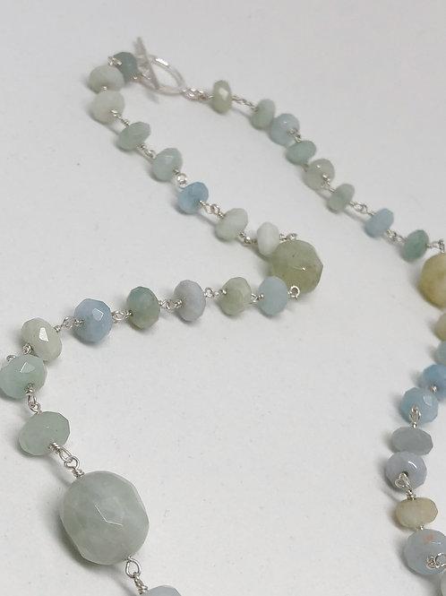 Natural Aquamarine Station Necklace