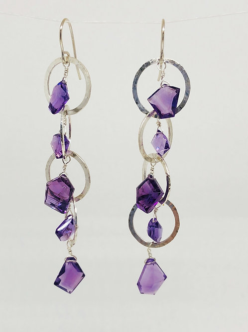 Purple Amethyst and Sterling Silver Circle Dangle Earrings