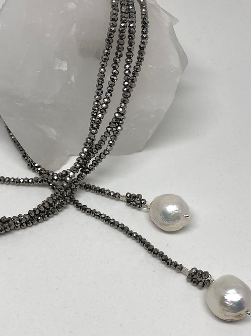 Baroque Pearl and Crystal Lariat Necklace