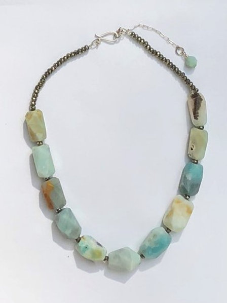 Chunky Amazonite and Pyrite Statement Necklace