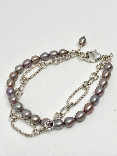 Double Strand Pearl and Chain Bracelet