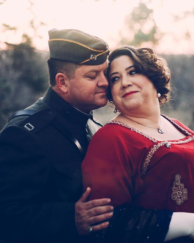 Kimberlee & Peter on their way to an era dance, they are representing 1919