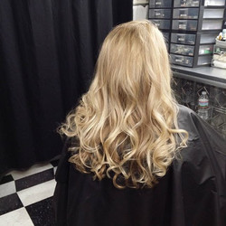 Marcia with her new blondeness for her son's upcoming wedding! So pretty!_Weaved with #foilmefoils a
