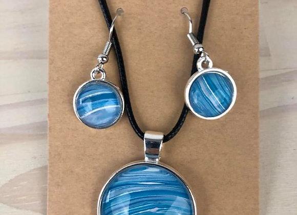 Acrylic Pour Art Large Pendant & Earring Set