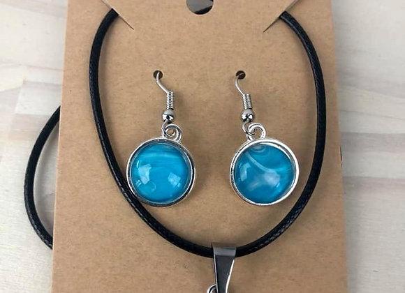 Acrylic Pour Art Small Pendant & Earring Set