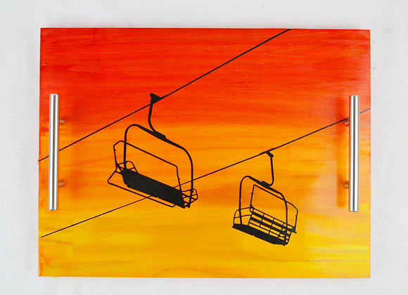 Chairlift Sunset Serving Tray