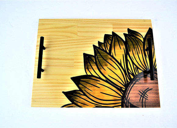 Sunflower Stained Wood Serving Tray