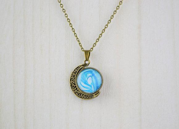 Acrylic Pour Art Moon Pendant