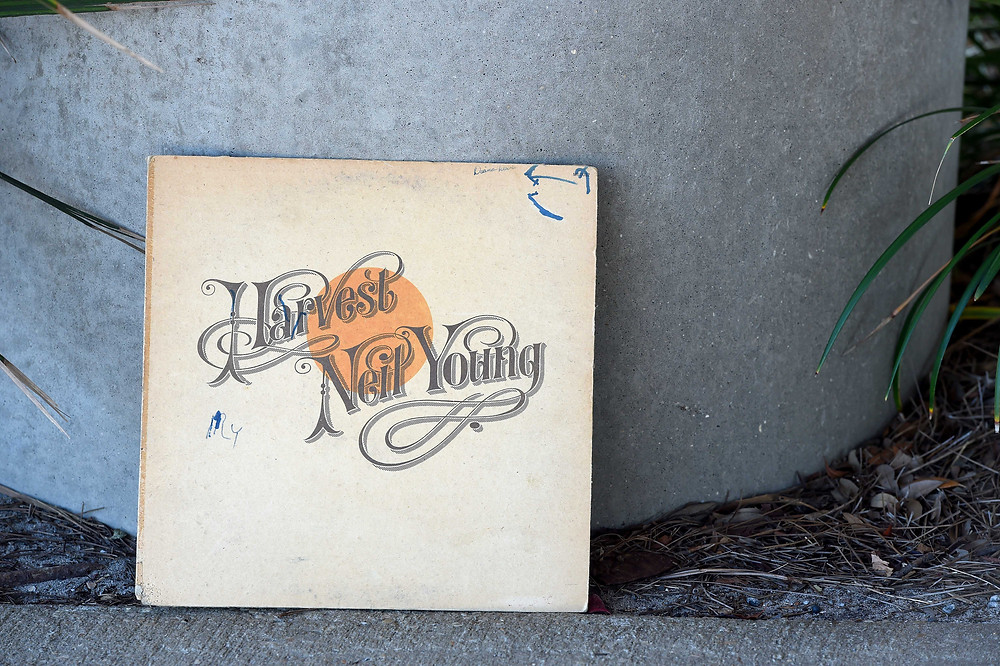 """A music blogger features the """"Harvest"""" vinyl record by Neil Young."""