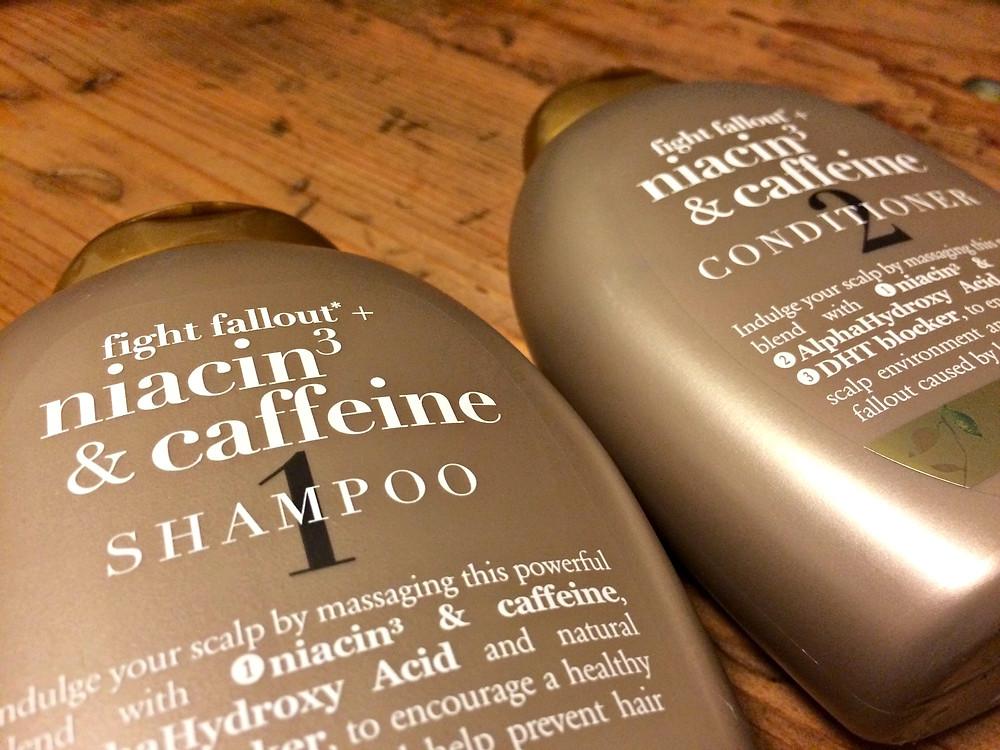 A beauty blogger features Organix niacin3 & caffeine shampoo and conditioner.