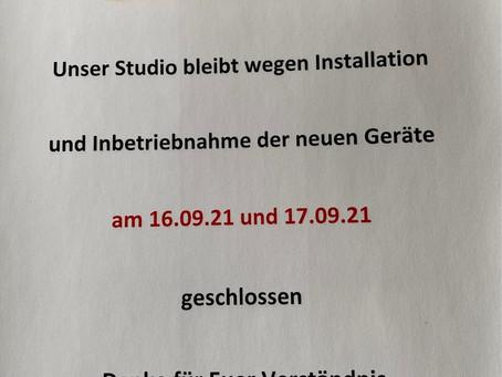 Unser Studio bleibt am 16 und 17. September geschlossen