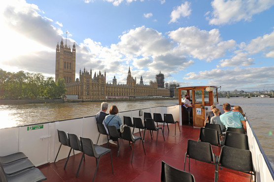 M.V Cockney Sparrow passing the New Palace of Westminster (Houses of Parliament)