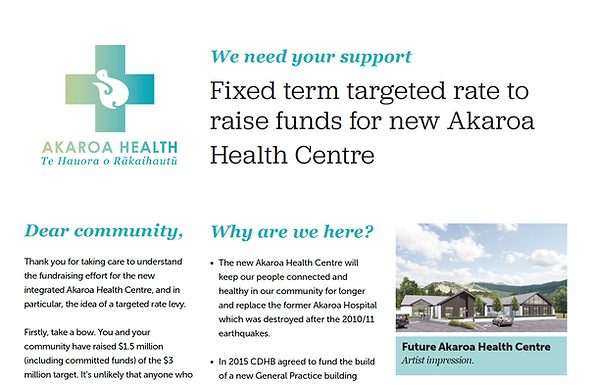 We need your support. Fixed term targeted rate to raise funds for new Akaroa Health Centre