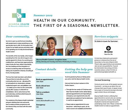 Akaroa Health - Summer 19/20 News