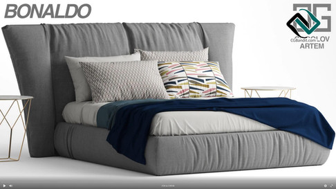 №87.Моделирование кровати  Bonaldo YOUNI