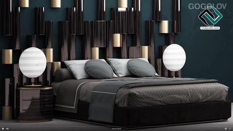 №112. Моделирование кровати Set bed в 3d