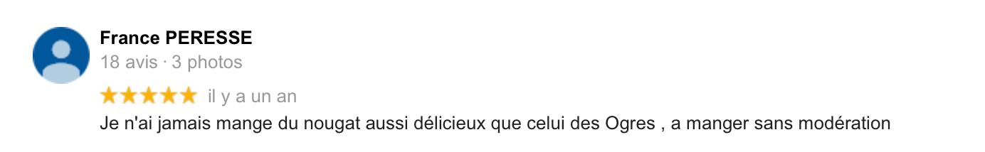 Avis France Peresse sur Le Bonheur des Ogres, Nougatier artisanal à Quistinic (56310)