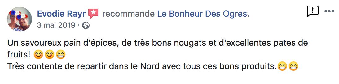 Avis de Evodie Rayr sur Le Bonheur des Ogres, Nougatier artisanal à Quistinic (56310)