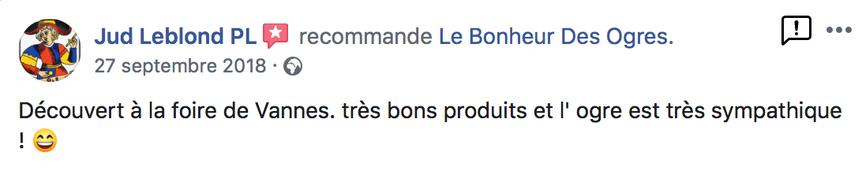2018 Avis de Jud Leblond PL sur Le Bonheur des Ogres, Nougatier artisanal à Quistinic (56310)