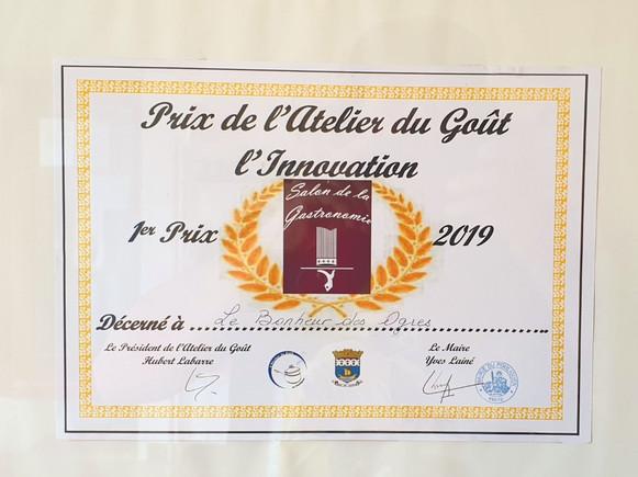 1er Prix de l'Atelier du Goût l'Innovation 2019
