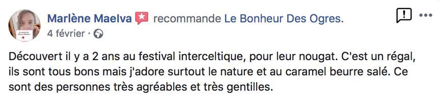 2020 Avis de Marlène Maelva sur Le Bonheur des Ogres, Nougatier artisanal à Quistinic (56310)