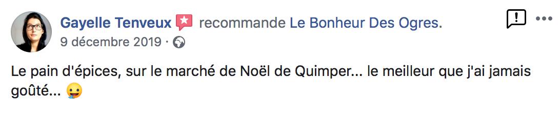 Avis de Gayelle Tenveux sur Le Bonheur des Ogres, Nougatier artisanal à Quistinic (56310)